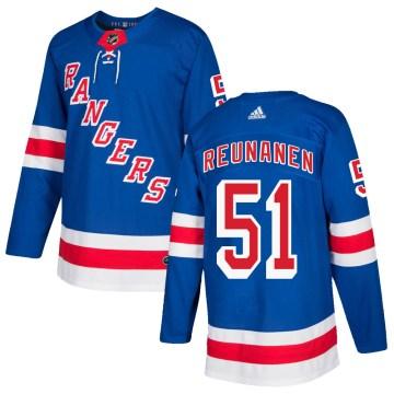 Adidas New York Rangers Men's Tarmo Reunanen Authentic Royal Blue Home NHL Jersey