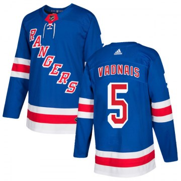 Adidas New York Rangers Men's Carol Vadnais Authentic Royal Blue Home NHL Jersey