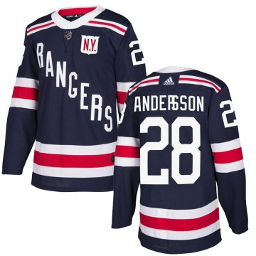 Adidas New York Rangers Men's Lias Andersson Authentic Navy Blue 2018 Winter Classic Home NHL Jersey