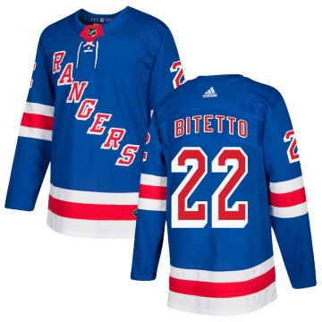 Adidas New York Rangers Youth Anthony Bitetto Authentic Royal Blue Home NHL Jersey
