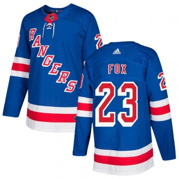 Adidas New York Rangers Youth Adam Fox Authentic Royal Blue Home NHL Jersey