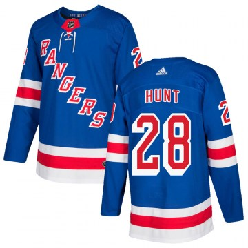 Adidas New York Rangers Youth Dryden Hunt Authentic Royal Blue Home NHL Jersey