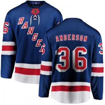Fanatics Branded New York Rangers Youth Glenn Anderson Breakaway Blue Home NHL Jersey