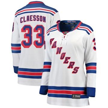 Fanatics Branded New York Rangers Women's Fredrik Claesson Breakaway White Away NHL Jersey