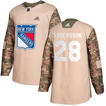 Adidas New York Rangers Youth Lias Andersson Authentic Camo Veterans Day Practice NHL Jersey