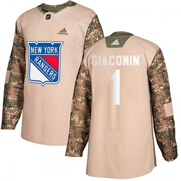 Adidas New York Rangers Youth Eddie Giacomin Authentic Camo Veterans Day Practice NHL Jersey