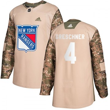 Adidas New York Rangers Youth Ron Greschner Authentic Camo Veterans Day Practice NHL Jersey