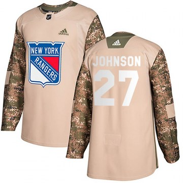 Adidas New York Rangers Youth Jack Johnson Authentic Camo Veterans Day Practice NHL Jersey