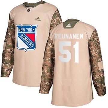 Adidas New York Rangers Youth Tarmo Reunanen Authentic Camo Veterans Day Practice NHL Jersey