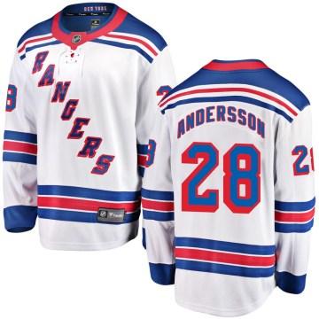 Fanatics Branded New York Rangers Men's Lias Andersson Breakaway White Away NHL Jersey