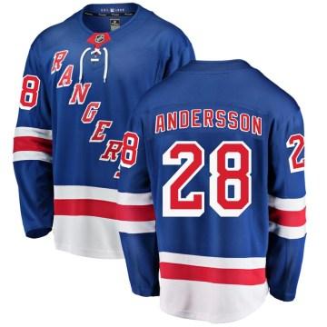 Fanatics Branded New York Rangers Men's Lias Andersson Breakaway Blue Home NHL Jersey