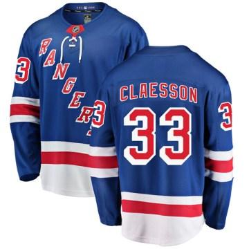 Fanatics Branded New York Rangers Men's Fredrik Claesson Breakaway Blue Home NHL Jersey