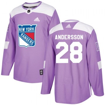 Adidas New York Rangers Men's Lias Andersson Authentic Purple Fights Cancer Practice NHL Jersey