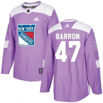 Adidas New York Rangers Men's Morgan Barron Authentic Purple Fights Cancer Practice NHL Jersey