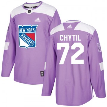 Adidas New York Rangers Men's Filip Chytil Authentic Purple Fights Cancer Practice NHL Jersey