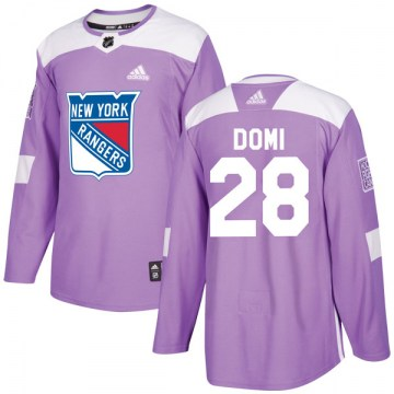 Adidas New York Rangers Men's Tie Domi Authentic Purple Fights Cancer Practice NHL Jersey