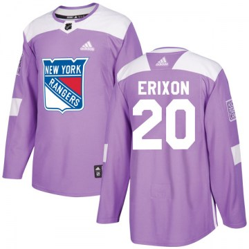 Adidas New York Rangers Men's Jan Erixon Authentic Purple Fights Cancer Practice NHL Jersey