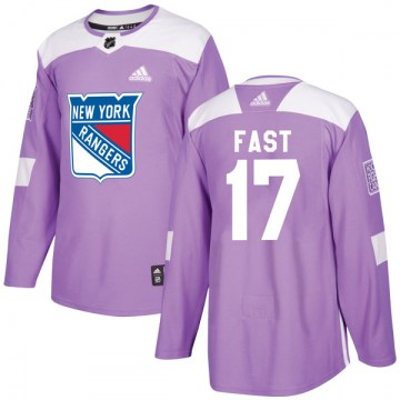 Adidas New York Rangers Men's Jesper Fast Authentic Purple Fights Cancer Practice NHL Jersey