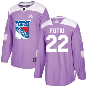 Adidas New York Rangers Men's Nick Fotiu Authentic Purple Fights Cancer Practice NHL Jersey