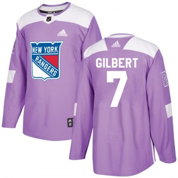 Adidas New York Rangers Men's Rod Gilbert Authentic Purple Fights Cancer Practice NHL Jersey