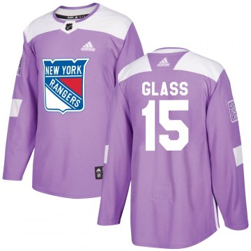 Adidas New York Rangers Men's Tanner Glass Authentic Purple Fights Cancer Practice NHL Jersey