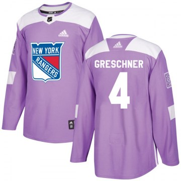 Adidas New York Rangers Men's Ron Greschner Authentic Purple Fights Cancer Practice NHL Jersey