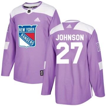Adidas New York Rangers Men's Jack Johnson Authentic Purple Fights Cancer Practice NHL Jersey