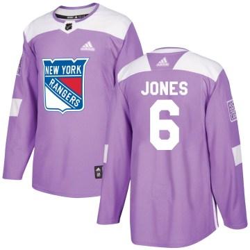 Adidas New York Rangers Men's Zac Jones Authentic Purple Fights Cancer Practice NHL Jersey