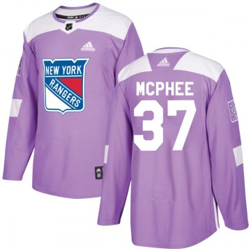 Adidas New York Rangers Men's George Mcphee Authentic Purple Fights Cancer Practice NHL Jersey