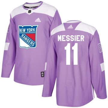 Adidas New York Rangers Men's Mark Messier Authentic Purple Fights Cancer Practice NHL Jersey