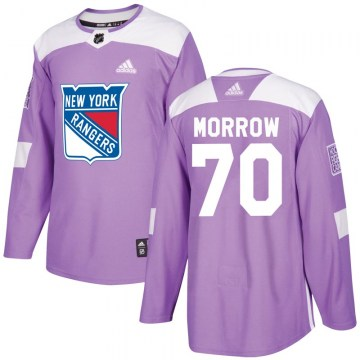 Adidas New York Rangers Men's Joe Morrow Authentic Purple Fights Cancer Practice NHL Jersey