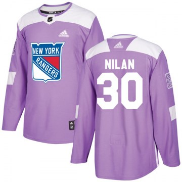 Adidas New York Rangers Men's Chris Nilan Authentic Purple Fights Cancer Practice NHL Jersey