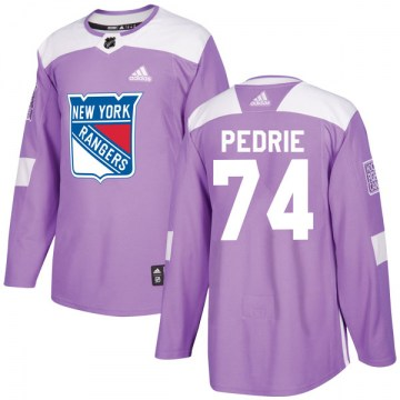 Adidas New York Rangers Men's Vince Pedrie Authentic Purple Fights Cancer Practice NHL Jersey
