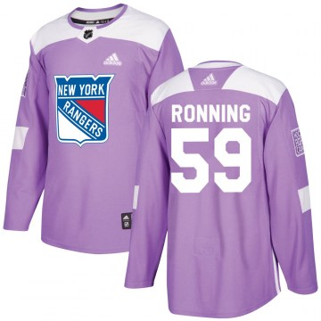 Adidas New York Rangers Men's Ty Ronning Authentic Purple Fights Cancer Practice NHL Jersey