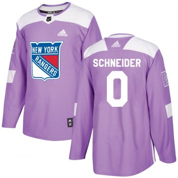 Adidas New York Rangers Men's Braden Schneider Authentic Purple Fights Cancer Practice NHL Jersey