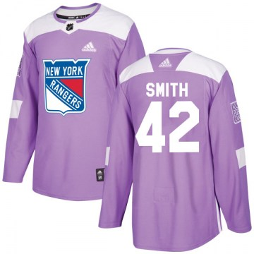 Adidas New York Rangers Men's Brendan Smith Authentic Purple Fights Cancer Practice NHL Jersey