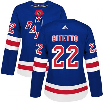 Adidas New York Rangers Women's Anthony Bitetto Authentic Royal Blue Home NHL Jersey