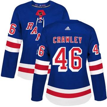 Adidas New York Rangers Women's Brandon Crawley Authentic Royal Blue ized Home NHL Jersey