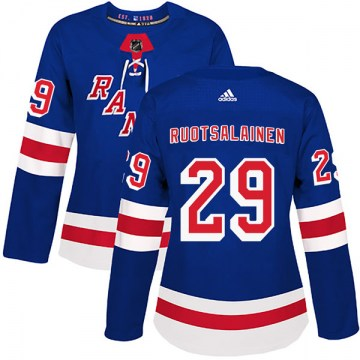 Adidas New York Rangers Women's Reijo Ruotsalainen Authentic Royal Blue Home NHL Jersey