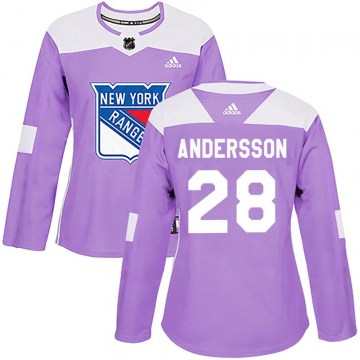 Adidas New York Rangers Women's Lias Andersson Authentic Purple Fights Cancer Practice NHL Jersey