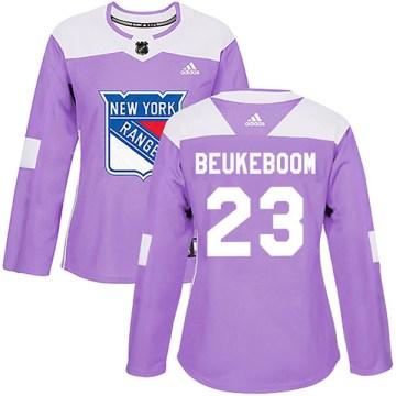 Adidas New York Rangers Women's Jeff Beukeboom Authentic Purple Fights Cancer Practice NHL Jersey