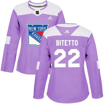 Adidas New York Rangers Women's Anthony Bitetto Authentic Purple Fights Cancer Practice NHL Jersey