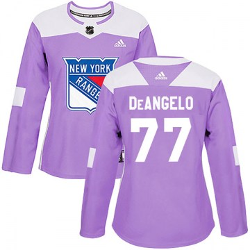Adidas New York Rangers Women's Tony DeAngelo Authentic Purple Fights Cancer Practice NHL Jersey