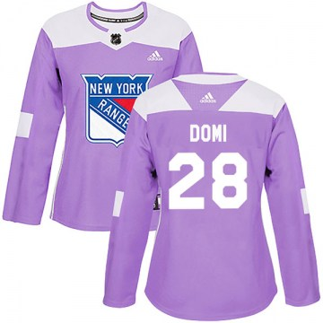 Adidas New York Rangers Women's Tie Domi Authentic Purple Fights Cancer Practice NHL Jersey