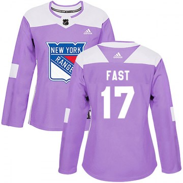 Adidas New York Rangers Women's Jesper Fast Authentic Purple Fights Cancer Practice NHL Jersey