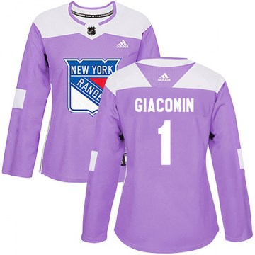 Adidas New York Rangers Women's Eddie Giacomin Authentic Purple Fights Cancer Practice NHL Jersey