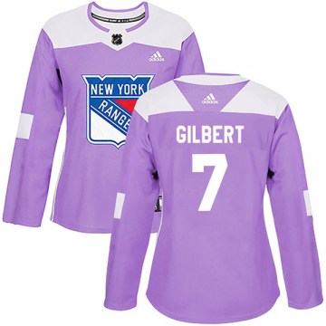 Adidas New York Rangers Women's Rod Gilbert Authentic Purple Fights Cancer Practice NHL Jersey