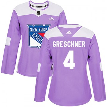 Adidas New York Rangers Women's Ron Greschner Authentic Purple Fights Cancer Practice NHL Jersey