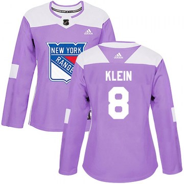 Adidas New York Rangers Women's Kevin Klein Authentic Purple Fights Cancer Practice NHL Jersey