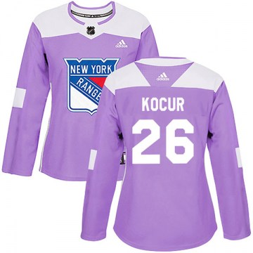Adidas New York Rangers Women's Joe Kocur Authentic Purple Fights Cancer Practice NHL Jersey